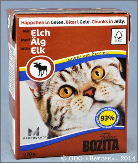 f08e9aafe Бозита для кошек кусочки в желе с мясом лося, уп. 370 г. КОРМА ДЛЯ ...